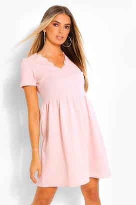 boohoo Scallop V Neck Short Sleeve Skater Dress