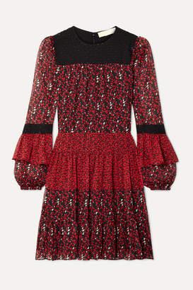 MICHAEL Michael Kors Paneled Printed Georgette And Fil Coupe Chiffon Mini Dress - Red
