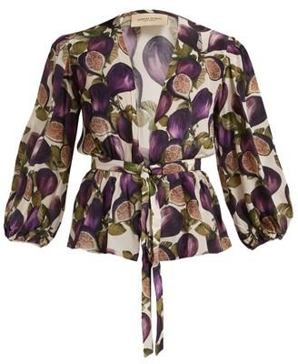 Adriana Degreas Fig-print Silk Crepe De Chine Blouse - Womens - Purple Print