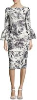 Theia Bell-Sleeve Scuba Palm-Print Cocktail Dress, Steel/White