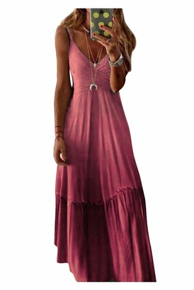 Itresty Women Long Dress Plus Size Tie-dye Print Sleeveless V-Neck Camisole Maxi Dress Kaftan Casual for Summer Party Cockail Vacation Beach Dress Red