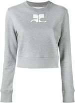 Courreges logo print sweatshirt - women - Cotton - 4