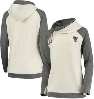 Unbranded Women's Cream/Charcoal Texas Tech Red Raiders Chill Layered Quilted Jacquard Pullover Hoodie