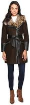 Via Spiga Asymmetrical Faux Fur Belted Coat w/ PU Detail
