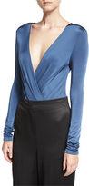 Diane von Furstenberg Lala Satin Long-Sleeve Surplice Bodysuit