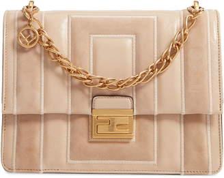 Fendi Kan U Goatskin Suede & Lambskin Leather Shoulder Bag