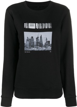 David Koma London skyline print sweatshirt