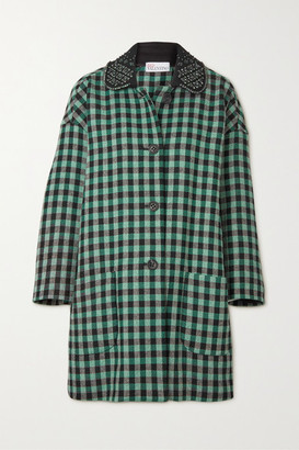 RED Valentino Crystal-embellished Checked Wool-blend Tweed Coat - Green