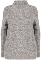 Yours Clothing YoursClothing Plus Size Womens Ladies Jumper Cardigan Top Cable Knit- Tall
