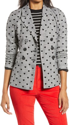 Halogen x Atlantic-Pacific Plaid Heart Flocked Double Breasted Blazer