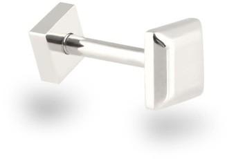 Minimalist Unisex 18K White Gold Square Piercing Stud