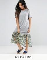 Asos Midi T-Shirt Dress With Leopard Print Woven Hem