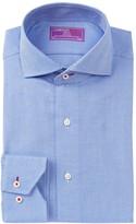 Lorenzo Uomo Check Jacquard Trim Fit Dress Shirt
