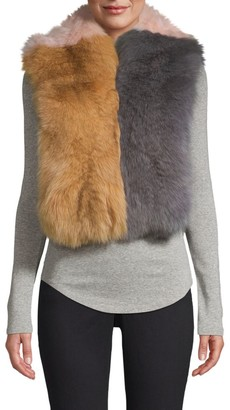 Pologeorgis Colorblock Fox Fur Scarf