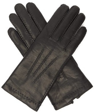 Agnelle Cashmere-lined Leather Gloves - Black