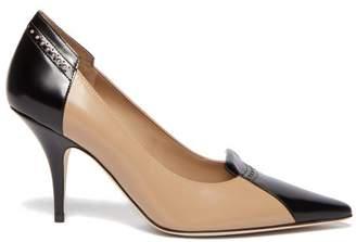 Burberry Eldmon Brogue-style Two-tone Leather Pumps - Womens - Black Beige