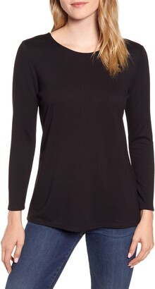 Gibson Baby Ponte Bow Back Long Sleeve Top