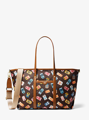 MICHAEL Michael Kors MK Beck Large Printed Logo Tote Bag - Brown Multi - Michael Kors