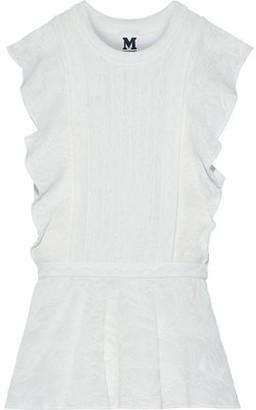 M Missoni Crochet-knit Cotton-blend Peplum Top