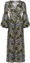 Phoebe Grace Rupee Puff Sleeve Wrap Midaxi Dress in Yellow Flower Print