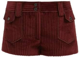 Saint Laurent Pocket-front Corduroy Shorts - Womens - Burgundy
