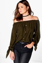 Boohoo Molly Woven Button Through Off The Shoulder Top