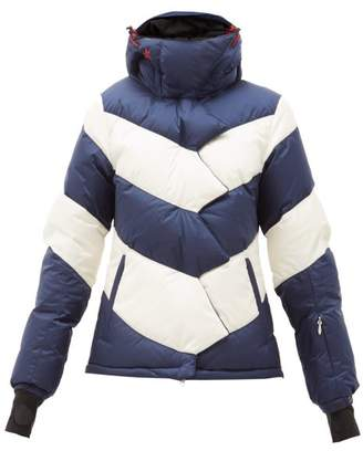 Perfect Moment Chevron Striped Down Filled Jacket - Womens - Blue Stripe
