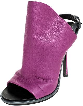 Balenciaga Purple/Grey Leather Open Toe Slingback Mule Sandals Size 36