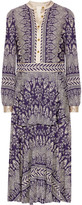 Tory Burch Tovero Printed Crepe De Chine Midi Dress - Dark purple