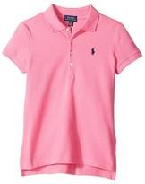 Polo Ralph Lauren Short Sleeve Mesh Polo Shirt (Little Kids/Big Kids) (Baja Pink) Girl's Short Sleeve Knit