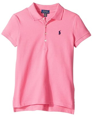 Polo Ralph Lauren Short Sleeve Mesh Polo Shirt (Little Kids/Big Kids) (Baja Pink) Girl's Short Sleeve Knit