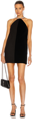 David Koma Crystal Chain Halter Neck Shift Dress in Black & Silver | FWRD