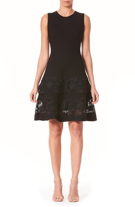 Carolina Herrera Guipure Lace Trim Fit & Flare Dress