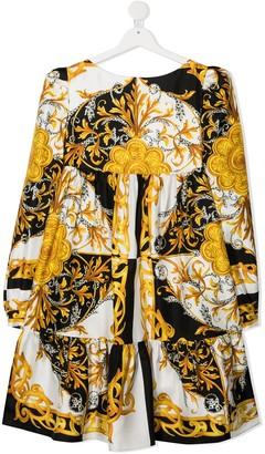 Versace TEEN baroque print flared dress