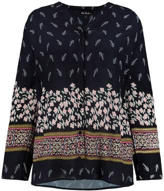 Ulla Popken Floral Print Long-Sleeved Draping Blouse
