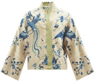 By Walid Cassie Upcycled Dragon-embroidered Silk Jacket - Blue White