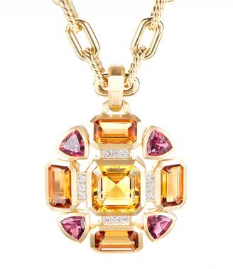 David Yurman Novella Mosaic Citrine & Tourmaline Pendant w/ Diamonds