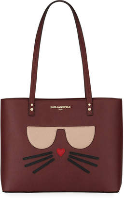 Karl Lagerfeld Paris Maybelle Leather Tote Bag with Choupette Cat Face