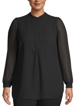 Anne Klein Plus Size Sheer-Sleeve Tunic