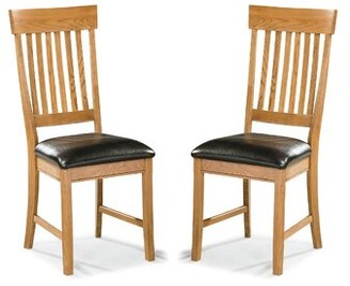 Millwood Pines Whipple Slatback Genuine Leather Upholstered Dining Chair (Set of 2