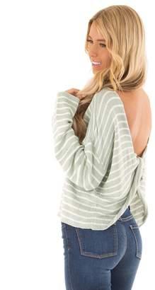 She + Sky Open Back Striped Sweater
