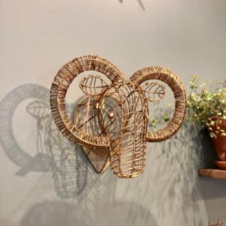 Nkuku Mini Recycled Brass Ram Trophy