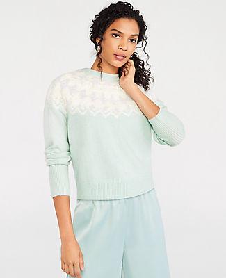 Ann Taylor Petite Fair Isle Mock Neck Sweater
