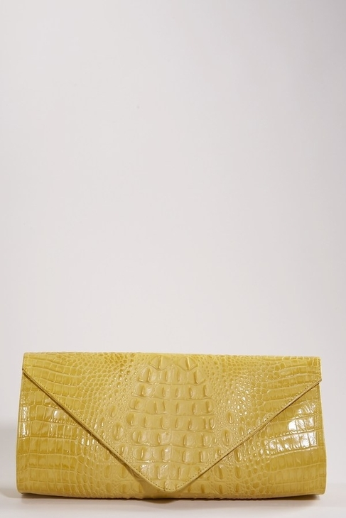 JJ Winters Leather Croco Envelope Clutch in Yellow