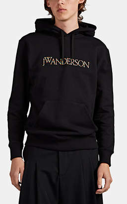 J.W.Anderson Men's Logo-Embroidered Cotton Hoodie - Black