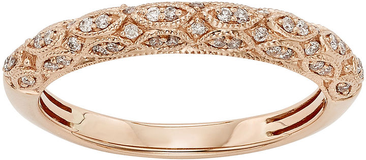 JCPenney MODERN BRIDE 1/5 CT. T.W. Certified Diamond 14K Rose Gold Wedding Band