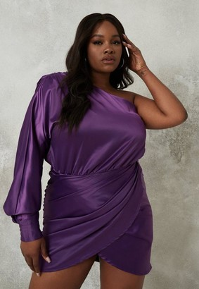 Missguided Plus Size Purple Satin One Shoulder Ruched Mini Dress