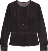 Iris and Ink Lace-trimmed silk blouse