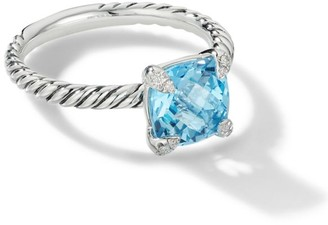 David Yurman Chatelaine Ring with Blue Topaz and Diamonds