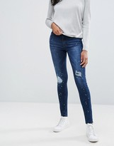 Pieces Rika Skin Tight Raw Ankle Jeans